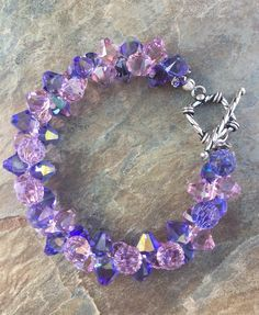 Purple Lilac Rock Candy Crystal Bracelet Candydidit.com Facebook/candydidit