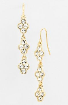 Lauren Ralph Lauren Crystal Linear Earrings available at #Nordstrom. Silver plated metal and glass. $42 CAD
