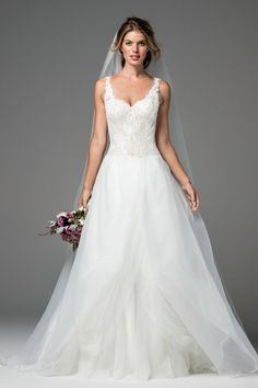 Shop designer bridal gowns like the Craven Top Style 18721 by Watters and other bridal accessories at Blush Bridal. Spring 2017 Wedding Dresses, Sexy Wedding Dresses, Wedding Bridesmaid Dresses, Wedding Dress Styles, Designer Wedding Dresses, Wedding Gowns, Lily Wedding, Tulle Wedding, Princess Wedding