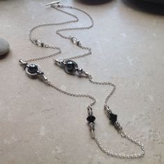 Long Hematite and Crystal Necklace