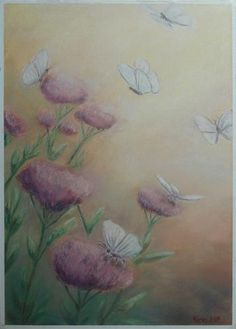 Summer with flowers and butterflies, pastel cm Pastel Paintings, Painting Gallery, Pastel Drawing, Still Life, Butterflies, Artworks, Landscape, Drawings, Flowers