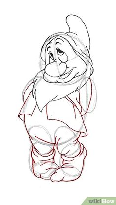 How to Draw Bashful from the Seven Dwarfs. Bashful is one of the seven dwarves from the 1937 Disney animation Snow White. This tutorial will show you how to draw Bashful in a few easy steps. Draw a circle with guidelines for the head. Animals Drawing Images, Cartoon Drawing Images, Animal Drawings, Cartoon Art, Draw Animals, Horse Drawings, Disney Character Drawings, Disney Drawings Sketches, Disney Cartoon Characters