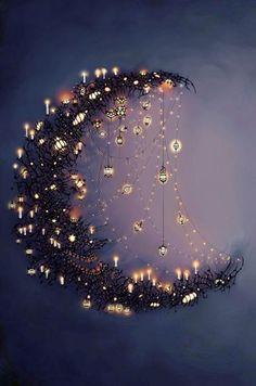 Sparkly lights moon-make something like this for Ramadan.