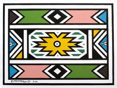An untiled work by Esther Mahlangu, whose dazzling geometric canvasses have taken Ndebele art to the world.