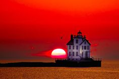 The Lorain lighthouse on Lake Erie