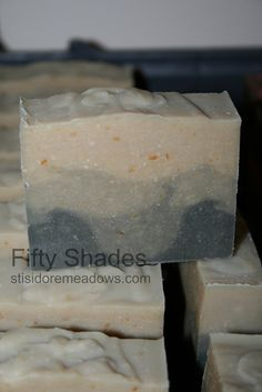 Handmade Goat Milk Soap on the curing rack:  Fifty Shades for men