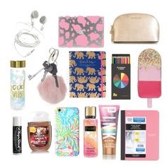 """""""backpack essentials"""" by oberynmartell ❤ liked on Polyvore featuring Accessorize, Polite, Lilly Pulitzer, Mead, Victoria's Secret, Dorothy Perkins, Givenchy, MICHAEL Michael Kors and Chapstick"""