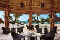The beautiful Seaside Grill is the perfect place for your reception. #SecretsMaromaBeach
