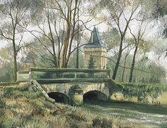 Saintines, vieux pont et donjon - Gouache - 2004 - Saintines'old bridge and castle.