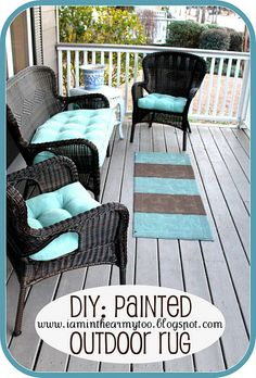 Painted outdoor rug: but i also really love the look of this porch!