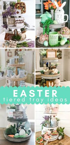 Easter Tiered Tray Inspiration - Blogs by Aria Easter Decor, Easter Ideas, Easter Crafts, Holiday Crafts, Holiday Decor, Tray, Place Card Holders, Decor Ideas, Table Decorations