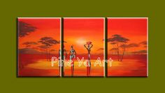 3 panel abstract handpainted decorative canvas wall art Africa naked women oil…