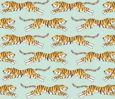 Meow | Tiger Stripes Wallpaper Pattern | Mint Green Jungle Background | Leopard Print | Animal Skins