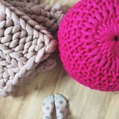 My absolute favourite colour combination, bright pink chunky knit footstool and mink coloured extreme knit Welcombe throw, both hand knit by Lauren Aston Designs.