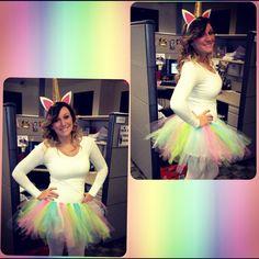 Halloween costume. Unicorn. No sew tutu.
