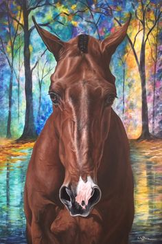 Horse painting. Gorgeous Bay with White Snip. (Art by Phariss Horses).