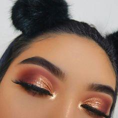 Glow makeup, copper eyeshadow, orange eye makeup, orange vibe, girl, makeup, cute girls, orange eyeshadow, eyebrows makeup. Credits: unknown. #EyeMakeupColourful