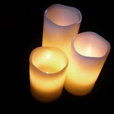 If you're like me, you love the natural, warm glow of candles but don't want the hassle or hazard of open flame (and of course the messy dripped wax, or the stinky smoke). Well these are a great option! They look and feel just like real candles, but they're actually more like small, flickering lamps. Their soft, warm light is very convincing, not like the cold blue light you may think of when you think of LEDs. The flickering is rather real as there's no dead give-away in the flicker…