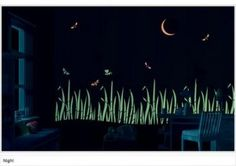 Glow in the dark paint <3 this i want this in my room lol. Maybe instead of grass, put sparrows.