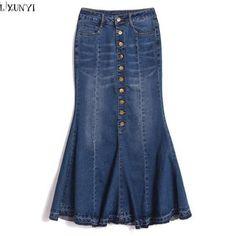 Hip Autumn Denim Skirt High Waist with Ruffles, Mermaid Skirt, Jeans Skirt, International Sizing, Please Check Size Chart Denim Maxi, Distressed Denim, Denim Skirt, Cotton Maxi Skirts, Long Maxi Skirts, Denim Fashion, Skirt Fashion, Ruffles, Costumes