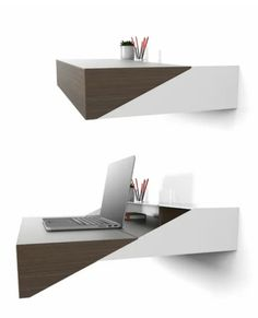 12 floating desks that look great and take up minimal space 12 floating desks that look great and take up minimal spaceA floating desk is a great solution, if you're in need of a home office or study Folding Furniture, Home Decor Furniture, Furniture Design, Tiny Living Rooms, Desk In Living Room, Small Room Desk, Hidden Desk, Small Home Offices, Floating Desk