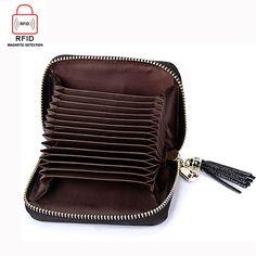 RFID Antimagnetic Genuine Leather 15 Card Slots Multi-slots Tassel Card Holder Coins Bag