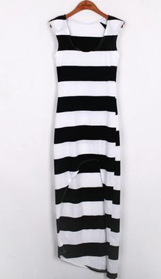 Black and White Hi and Low Long Striped Dress