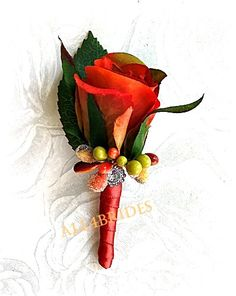 Mens Wedding Boutonniere, Fall wedding, persimmon and burnt orange rose bud boutonniere on Etsy, $17.00