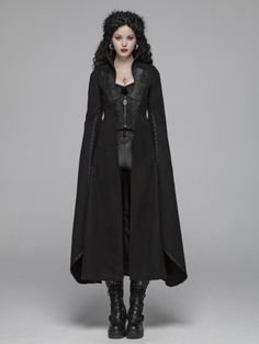 Punk Rave Black Morticia Addams Gothic Woolen Long Coat for Women