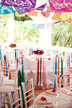 San Francisco Wedding & Event Planner: Fiesta Rehearsal Dinner on Martha Stewart Weddings! Party Decoration, Mexican Wedding Decorations, Mexican Wedding Traditions, Mexican Weddings, Mexican Wedding Reception, Colorful Wedding Centerpieces, Streamer Decorations, Colorful Weddings, Fiesta Decorations