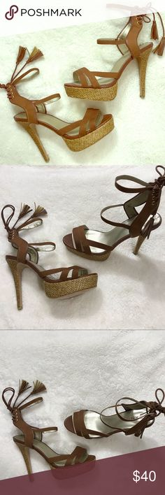 sports shoes ada58 25c03 ⬇  59 Lace Up Brown Sandal Platform Heel I ACCEPT OFFERS
