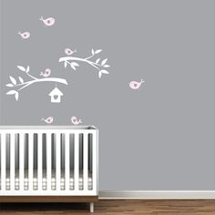 Vinyl wall decals branches with birdhouse birds by Modernwalls