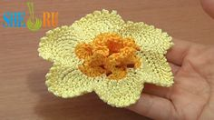 Crochet Narcissus Flower How to Tutorial 65 Part 1 of 2 Crochet 3D Center With Spirals  http://sheruknitting.com/videos-about-knitting/crochet-flower-lessons/item/481-how-to-crochet-narcissus-flower.html This detailed easy to follow crochet video tutorial will help you to crochet a beautiful Narcissus flower (crochet Daffodil). This flower made of 2 colors: bright and light yellow. The center made of double crochet stitches and cute little spirals.