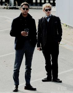 Rupert Grint and Luke Pasqualino being cool on the set of Snatch on 20 Sept. 2016 in Manchester.