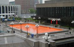 Claude Cormier's orange pool project at Place des Arts in Montreal, Canada