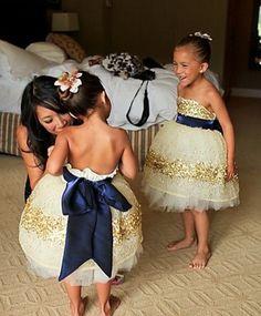 #Gold Constellation Flower Girl Dress#