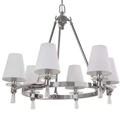 """Park Harbor PHHL6016 Southampton 23"""" Wide 6 Light Empire Style Chandelier with T Polished Nickel Indoor Lighting Chandeliers"""