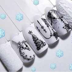 Christmas Gel Nails, Xmas Nail Art, Holiday Nails, Cute Acrylic Nails, Glitter Nail Art, Cute Nails, Pretty Nails, New Years Nail Designs, Nail Art Designs Videos