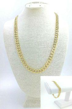 """mens 10mm cuban curb 24"""" chain necklace/bracelet set textured 14k gold plated #Unbranded #MiamiCubanLink Men's Jewelry, Jewelry Sets, Chain Necklaces, Beaded Necklace, Hip Hop Chains, Cuban, Bracelet Set, Link Bracelets, Gold Chains"""