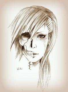 Half skull face by ~Cate397 on deviantART