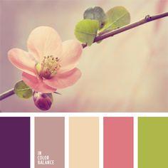 Tal paleta de colores es un ejemplo de sofisticación y refinamiento. Los colores violeta y verde lechuga hacen resaltar estos tonos rosados suaves. Dicha paleta puede ser usada para hacer un ramo de flores que va a acompañar un regalo para cumpleaños, San Valentín o una boda.