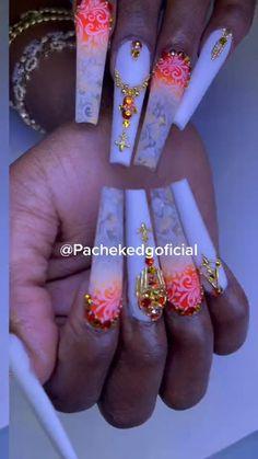 Edgy Nails, Gem Nails, Classy Nails, Bling Nails, Nail Gems, Gorgeous Nails, Love Nails, Nail Art Designs Videos, Nail Designs