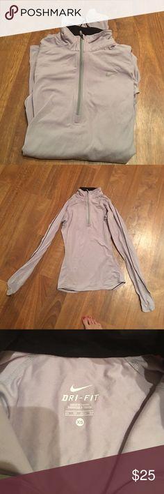 Nike Element Half Zip grey with black detail xs Super soft Nike element half zip in good condition. It has mesh under the armpits to keep you cool. Size xs Nike Tops Sweatshirts & Hoodies