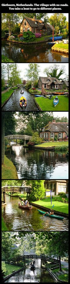 "Giethoorn is a village in the Dutch province of Overijssel. It's known as ""Venice of the North"" or ""Venice of the Netherlands"". There are absolutely no roads and all transport is conducted by water over one of the many canals."