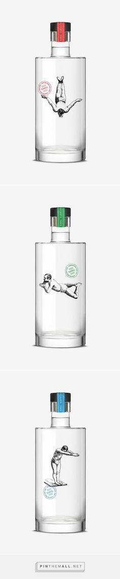 Gin Rawal / Packaging / Packaging design / Ideas / Inspiration / Gin / Bottle / Liquor / Drink / Glass / See-Through / Original / Creative / Vintage Illustration / Minimal / Minimalist / Minimalistic / Minimalism / Swimmer / Diver / Handmade / Handdrawn / Draw / Pencil Drawing /