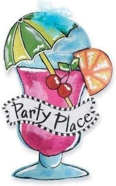 """Party Place Door Hanger - Dimensional painted burlap cocktail door hanger reads, """"Party Place"""" and is decorated with glitter and chiffon bow. Canvas Door Hanger, Wooden Door Hangers, Wooden Doors, Painting Burlap, Fabric Painting, Rock Painting, Painted Doors, Painted Signs, Burlap Door Hangings"""