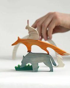 Crafts Animals RED BARBATUM - Wooden toys by Yegor Sologubik & Natalia Khotina. Wooden Crafts, Wooden Diy, Handmade Wooden, Handmade Toys, Wooden Baby Toys, Wood Toys, Wood Animal, Wooden Animal Toys, Wood Games