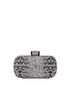 Oblong Patterned Minaudiere Evening Clutch Bag, Black/White by Halston at Neiman Marcus.