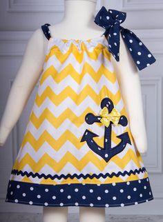 Super Cute Chevron Anchor applique Dress Yellow and Navy polka dot on Etsy, $25.00