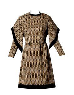 1960s Adele Simpson . Geometric Wool Dress + Scarf Set 2-Piece Ensemble